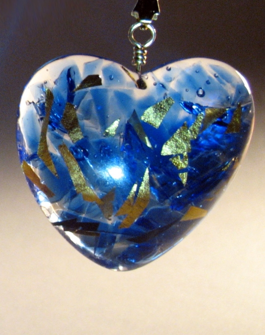 Blue Recycled Glass with Resin and 23K Gold Leaf