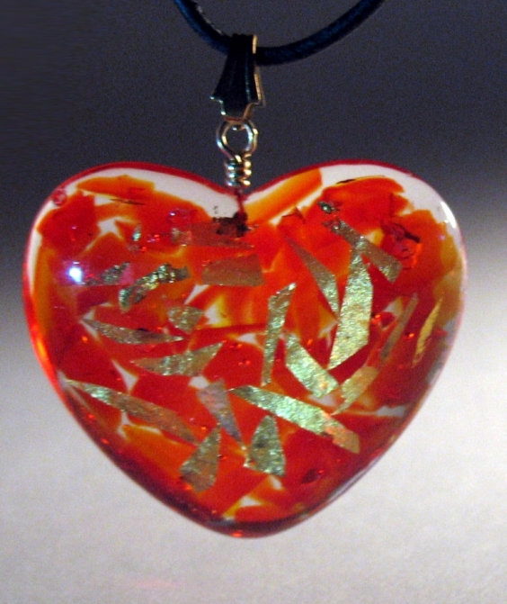 Red Recycled Glass with Resin and 23K Gold Leaf