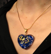 Blue Recycled Glass in Resin with 23K Gold Leaf